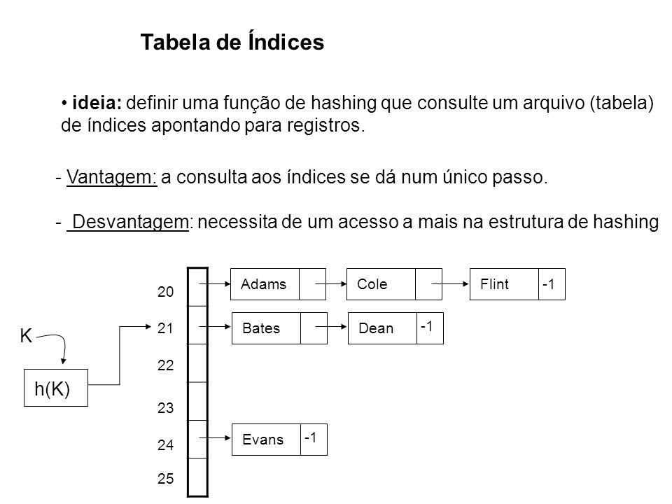 Tabela de Índices ideia: definir uma função de hashing que consulte um arquivo (tabela) de índices apontando para registros. - Vantagem: a consulta ao