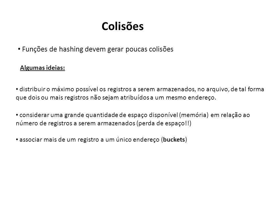Colisões Funções de hashing devem gerar poucas colisões Algumas ideias: distribuir o máximo possível os registros a serem armazenados, no arquivo, de