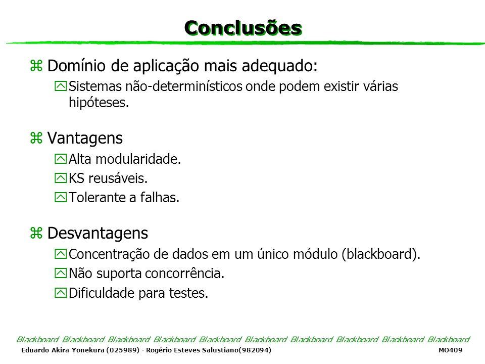 Eduardo Akira Yonekura (025989) - Rogério Esteves Salustiano(982094) MO409 Conclusões zDomínio de aplicação mais adequado: ySistemas não-determinístic