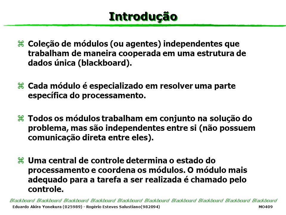Eduardo Akira Yonekura (025989) - Rogério Esteves Salustiano(982094) MO409 Introdução zColeção de módulos (ou agentes) independentes que trabalham de maneira cooperada em uma estrutura de dados única (blackboard).