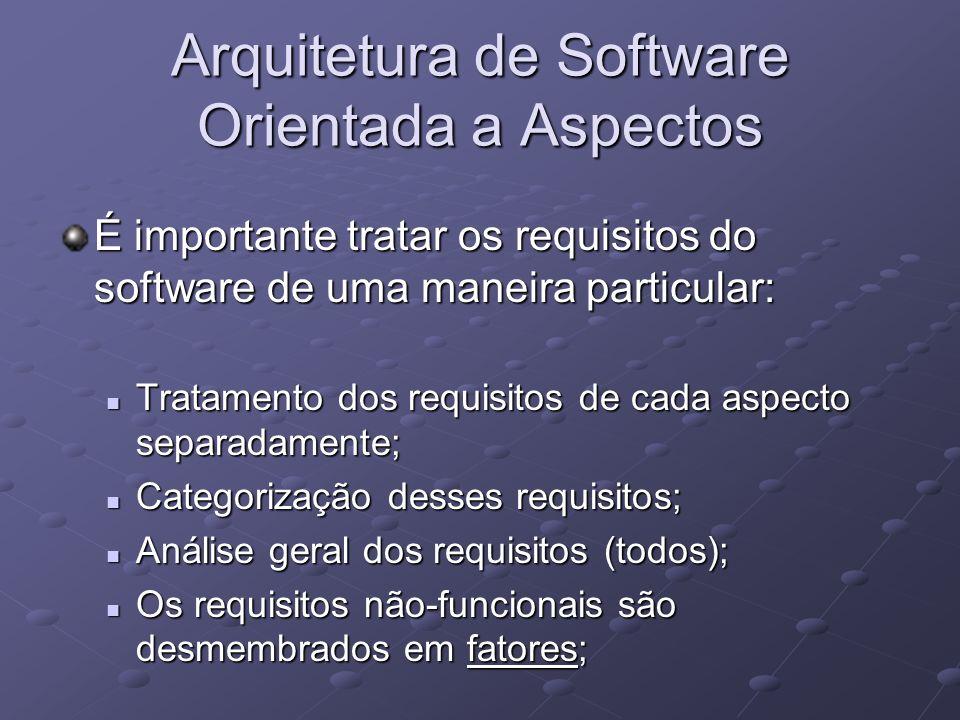 Arquitetura de Software Orientada a Aspectos É importante tratar os requisitos do software de uma maneira particular: Tratamento dos requisitos de cad