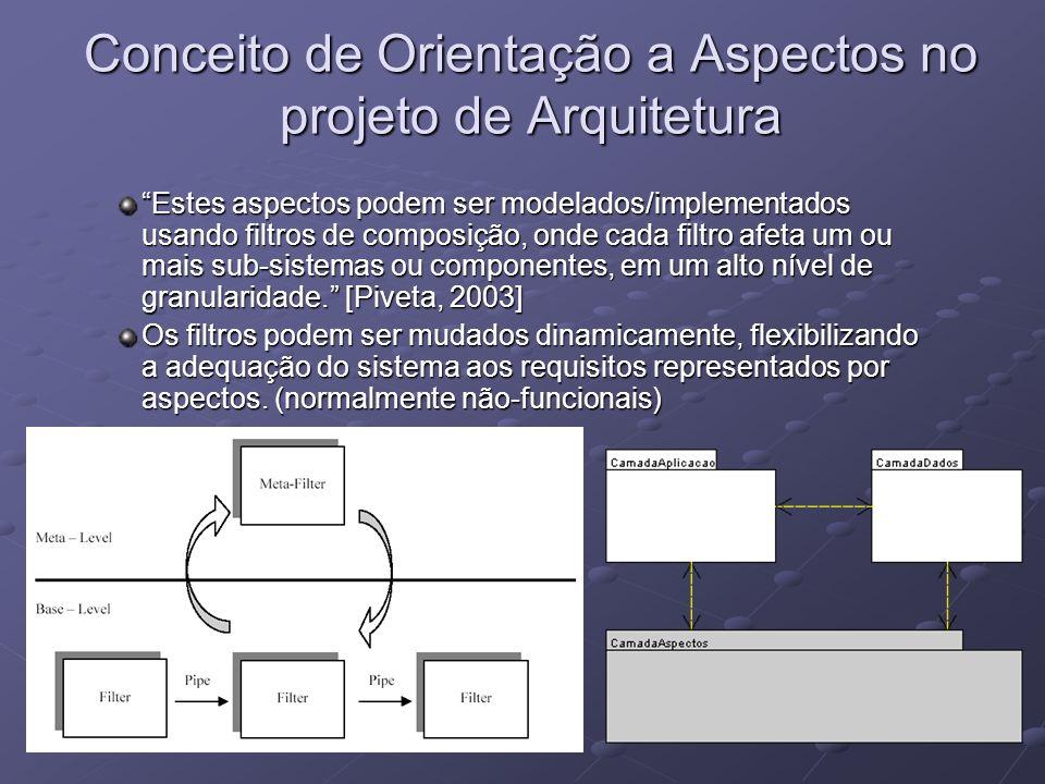 Conceito de Orientação a Aspectos no projeto de Arquitetura Estes aspectos podem ser modelados/implementados usando filtros de composição, onde cada f