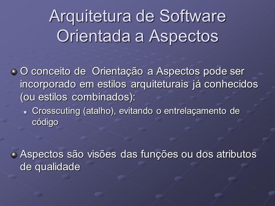 Arquitetura de Software Orientada a Aspectos O conceito de Orientação a Aspectos pode ser incorporado em estilos arquiteturais já conhecidos (ou estil