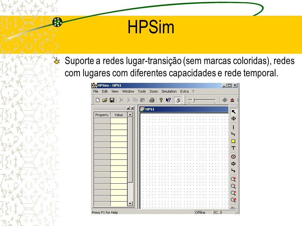 HPSim Suporte a redes lugar-transição (sem marcas coloridas), redes com lugares com diferentes capacidades e rede temporal.