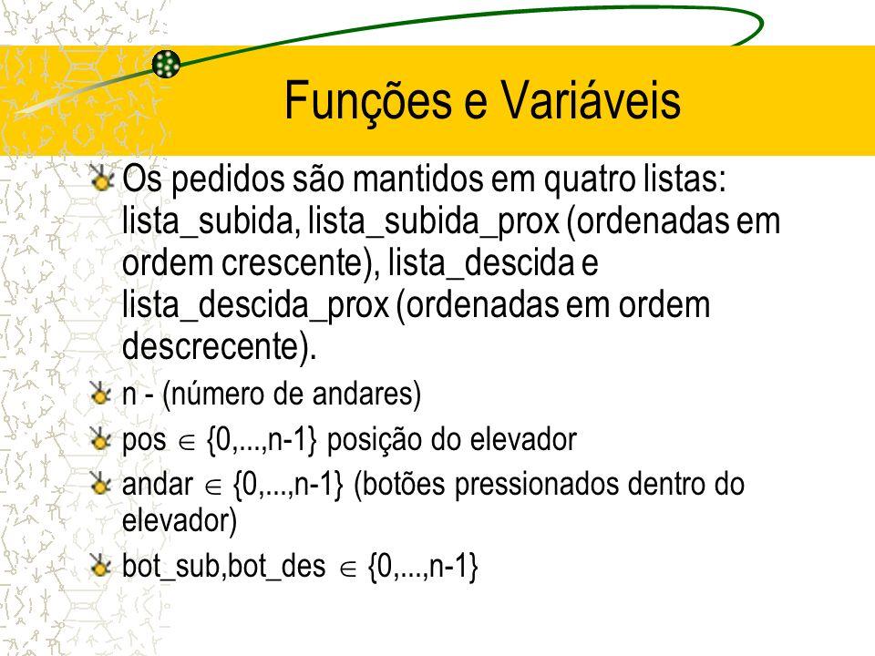 Funções e Variáveis Os pedidos são mantidos em quatro listas: lista_subida, lista_subida_prox (ordenadas em ordem crescente), lista_descida e lista_descida_prox (ordenadas em ordem descrecente).