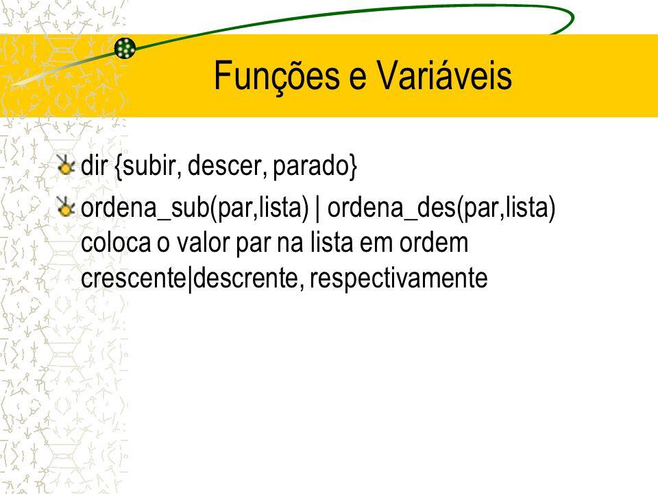 Funções e Variáveis dir {subir, descer, parado} ordena_sub(par,lista) | ordena_des(par,lista) coloca o valor par na lista em ordem crescente|descrente, respectivamente