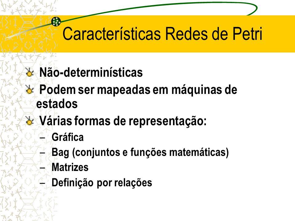 Características Redes de Petri Não-determinísticas Podem ser mapeadas em máquinas de estados Várias formas de representação: – Gráfica – Bag (conjuntos e funções matemáticas) – Matrizes – Definição por relações