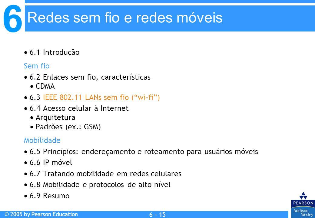 6 © 2005 by Pearson Education 6 - 15 6.1 Introdução Sem fio 6.2 Enlaces sem fio, características CDMA 6.3 IEEE 802.11 LANs sem fio (wi-fi) 6.4 Acesso