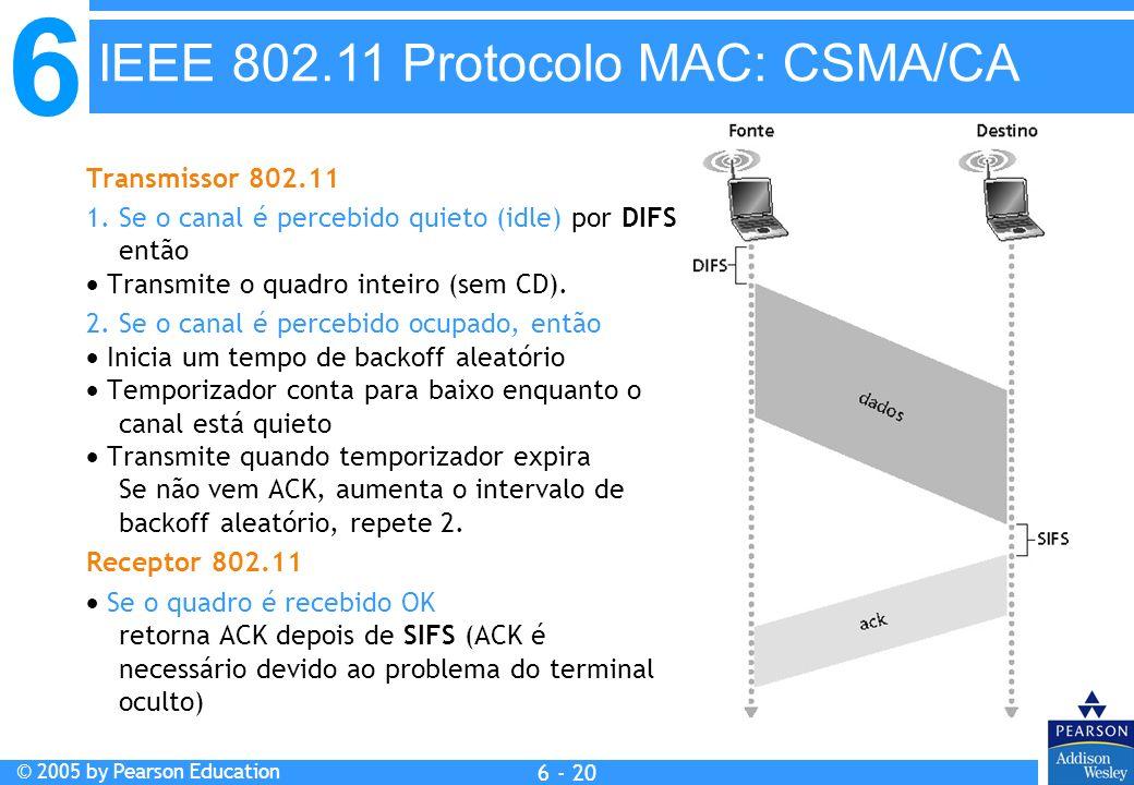 6 © 2005 by Pearson Education 6 - 20 Transmissor 802.11 1. Se o canal é percebido quieto (idle) por DIFS então Transmite o quadro inteiro (sem CD). 2.