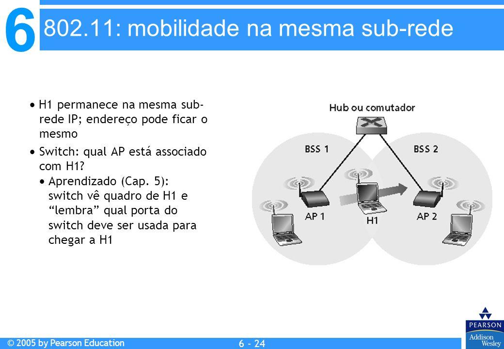6 © 2005 by Pearson Education 6 - 24 H1 permanece na mesma sub- rede IP; endereço pode ficar o mesmo Switch: qual AP está associado com H1? Aprendizad