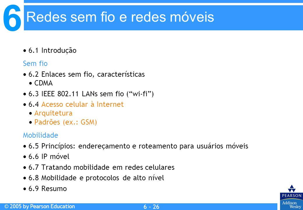 6 © 2005 by Pearson Education 6 - 26 Redes sem fio e redes móveis 6.1 Introdução Sem fio 6.2 Enlaces sem fio, características CDMA 6.3 IEEE 802.11 LAN