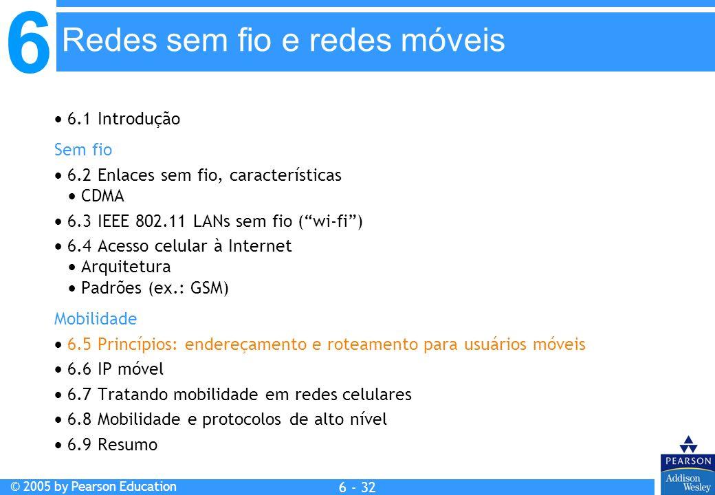6 © 2005 by Pearson Education 6 - 32 Redes sem fio e redes móveis 6.1 Introdução Sem fio 6.2 Enlaces sem fio, características CDMA 6.3 IEEE 802.11 LAN