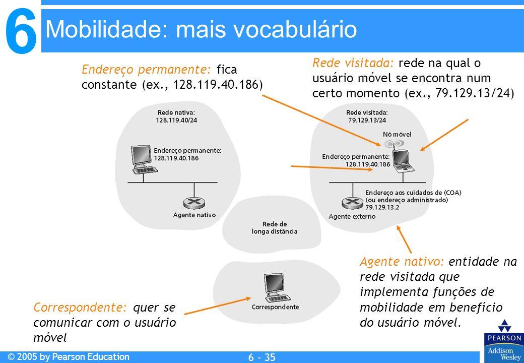 6 © 2005 by Pearson Education 6 - 35 Rede visitada: rede na qual o usuário móvel se encontra num certo momento (ex., 79.129.13/24) Endereço permanente