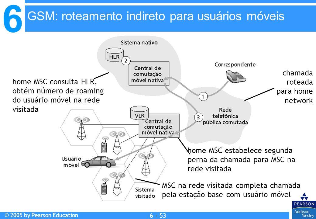 6 © 2005 by Pearson Education 6 - 53 chamada roteada para home network home MSC consulta HLR, obtém número de roaming do usuário móvel na rede visitad