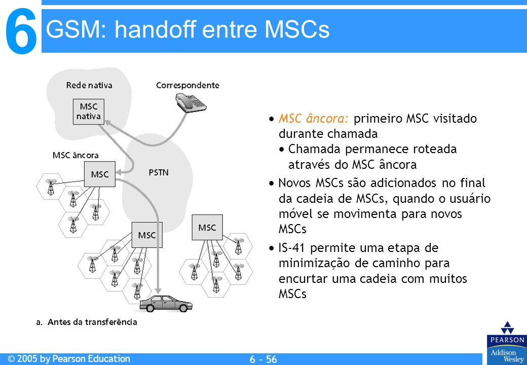 6 © 2005 by Pearson Education 6 - 56 MSC âncora: primeiro MSC visitado durante chamada Chamada permanece roteada através do MSC âncora Novos MSCs são