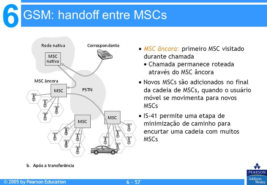 6 © 2005 by Pearson Education 6 - 57 MSC âncora: primeiro MSC visitado durante chamada Chamada permanece roteada através do MSC âncora Novos MSCs são