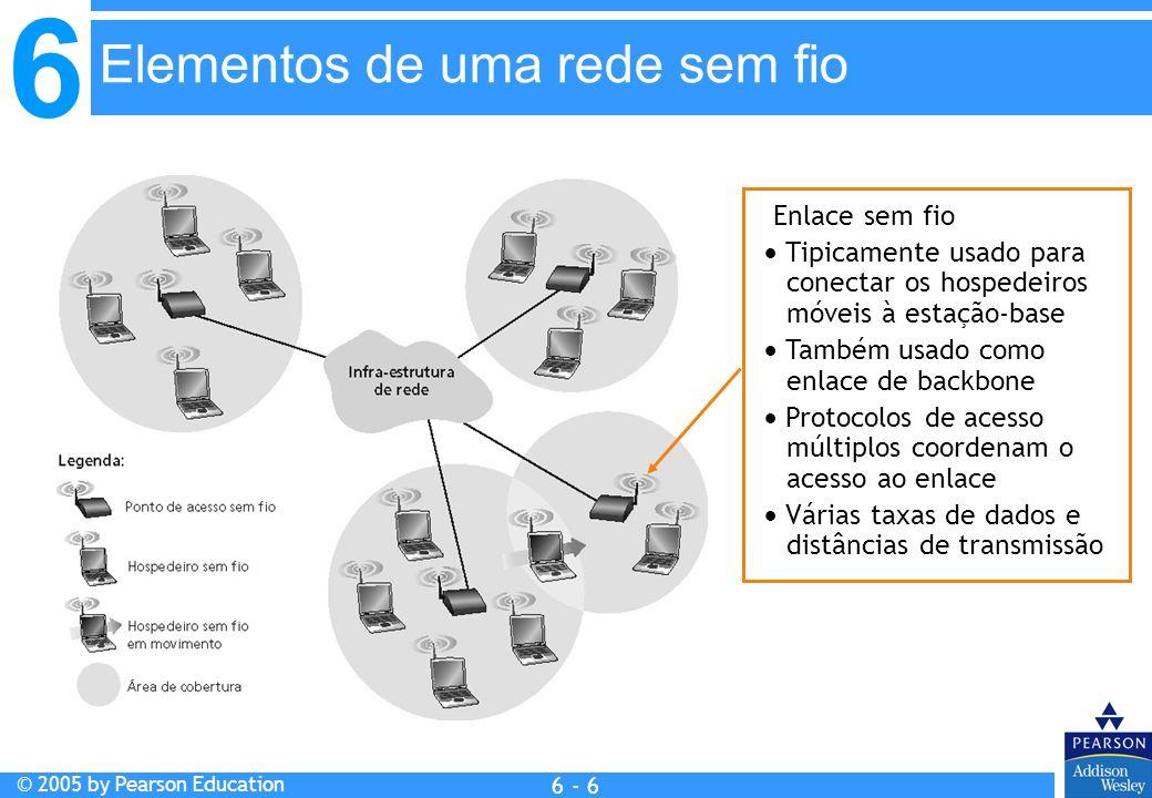 6 © 2005 by Pearson Education 6 - 47 RFC 3220 Tem muitas das características já vistas: Agentes nativos, agentes externos, registro de agente externo, care-of addresses, encapsulamento (pacote-dentro-de-pacote) Três componentes do padrão: Roteamento indireto de datagramas Descoberta de agentes Registro com o agente nativo IP móvel