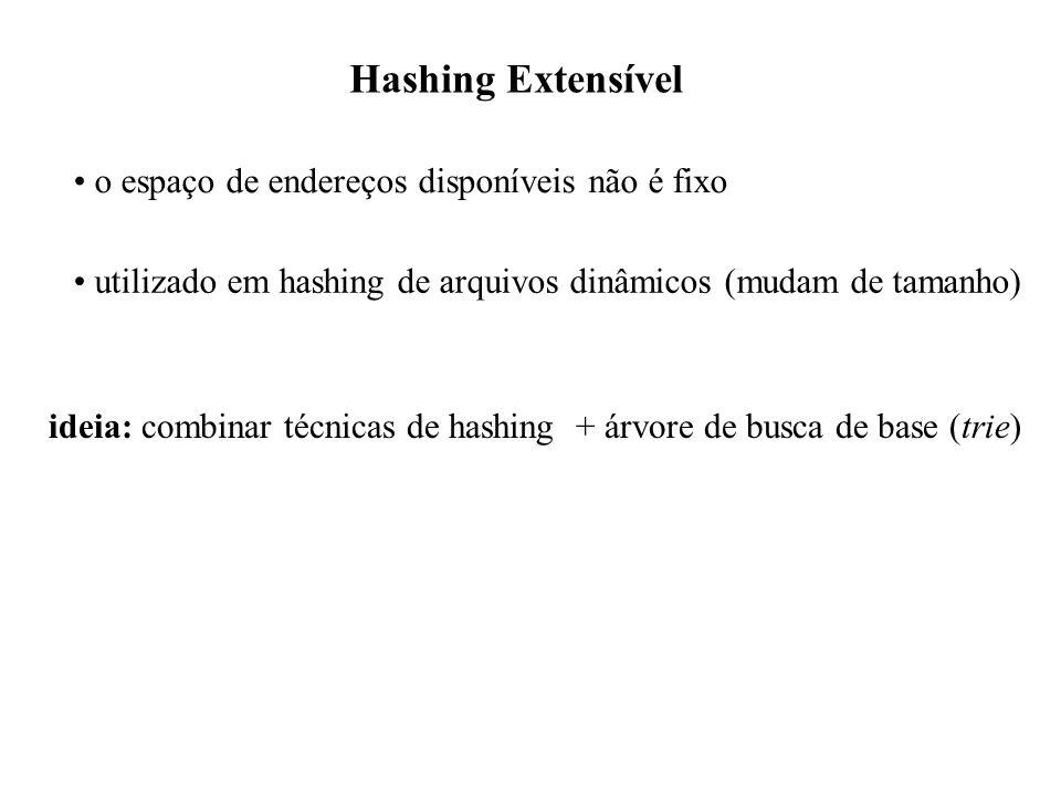 Hashing Extensível o espaço de endereços disponíveis não é fixo utilizado em hashing de arquivos dinâmicos (mudam de tamanho) ideia: combinar técnicas