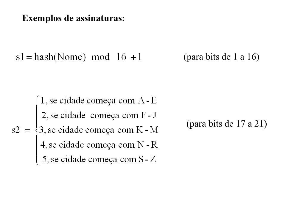 Exemplos de assinaturas: (para bits de 1 a 16) (para bits de 17 a 21)
