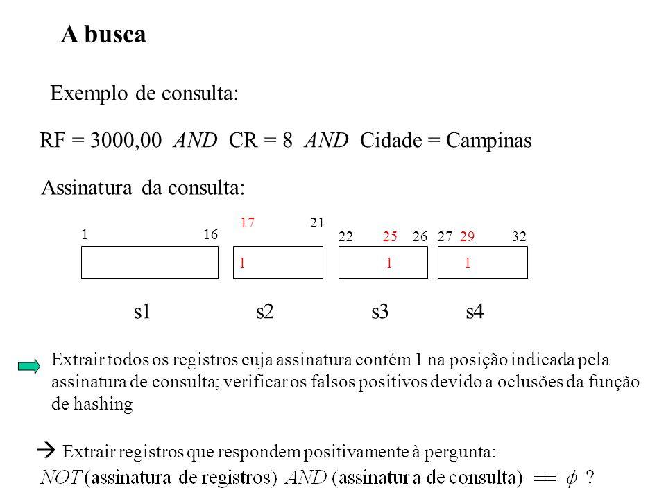 A busca Exemplo de consulta: RF = 3000,00 AND CR = 8 AND Cidade = Campinas 1 16 22 25 2627 29 32 s1s2s3s4 11 17 21 1 Assinatura da consulta: Extrair t