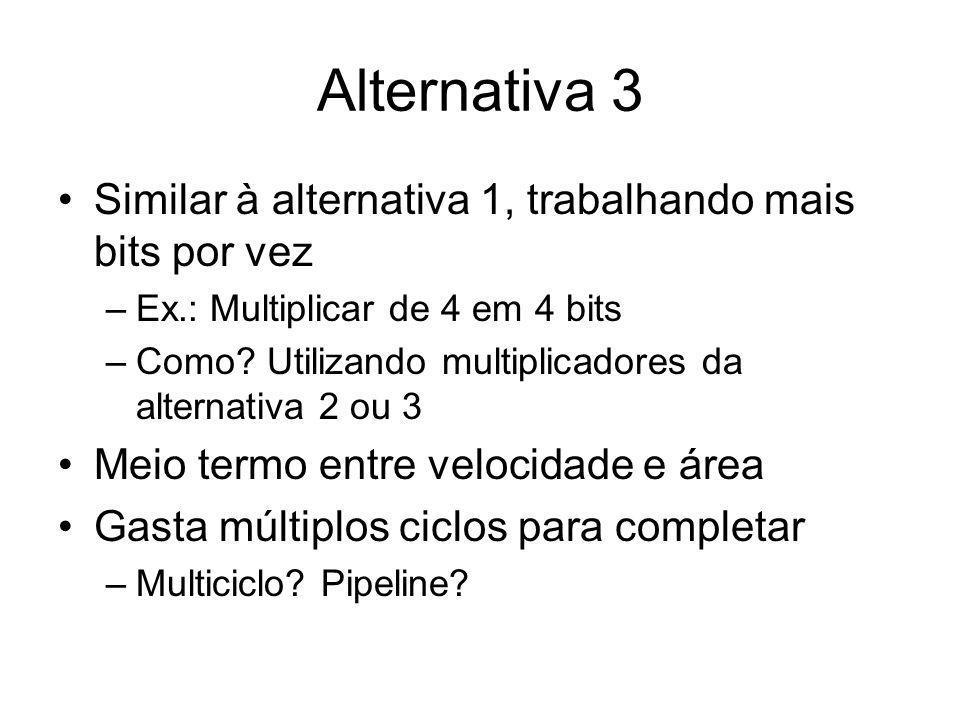 Alternativa 3 Similar à alternativa 1, trabalhando mais bits por vez –Ex.: Multiplicar de 4 em 4 bits –Como? Utilizando multiplicadores da alternativa