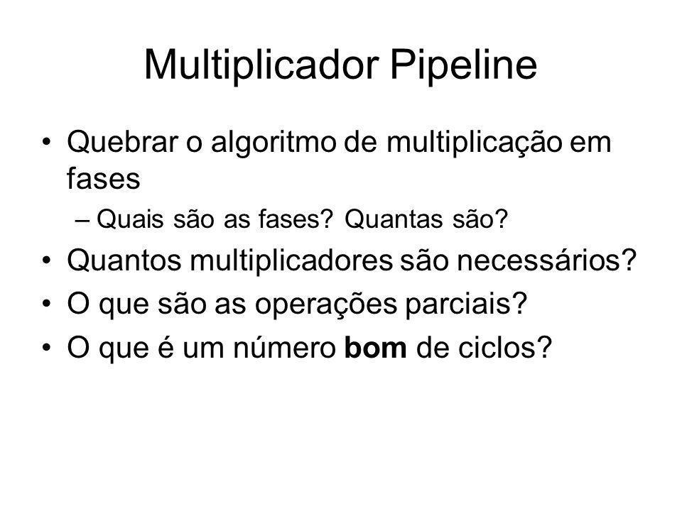Multiplicador Pipeline Quebrar o algoritmo de multiplicação em fases –Quais são as fases? Quantas são? Quantos multiplicadores são necessários? O que