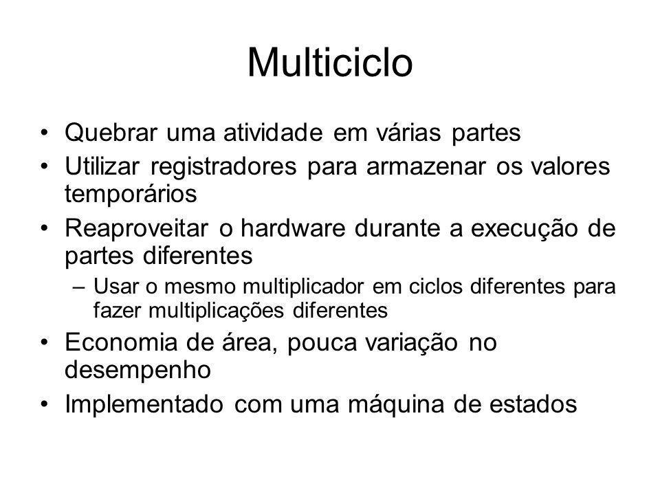 Multiciclo Quebrar uma atividade em várias partes Utilizar registradores para armazenar os valores temporários Reaproveitar o hardware durante a execu