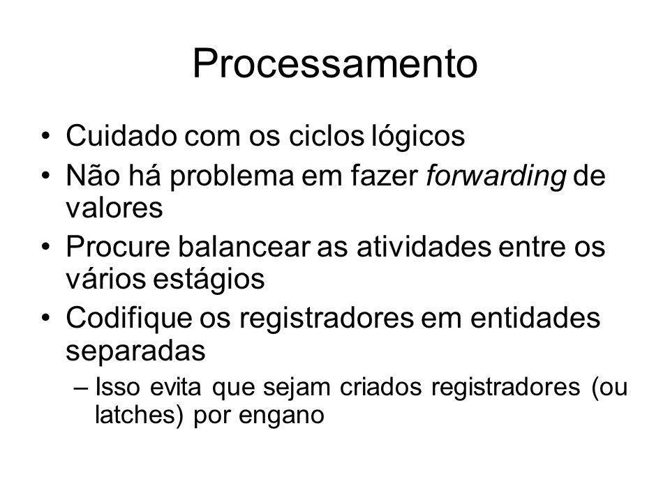 Processamento Cuidado com os ciclos lógicos Não há problema em fazer forwarding de valores Procure balancear as atividades entre os vários estágios Co