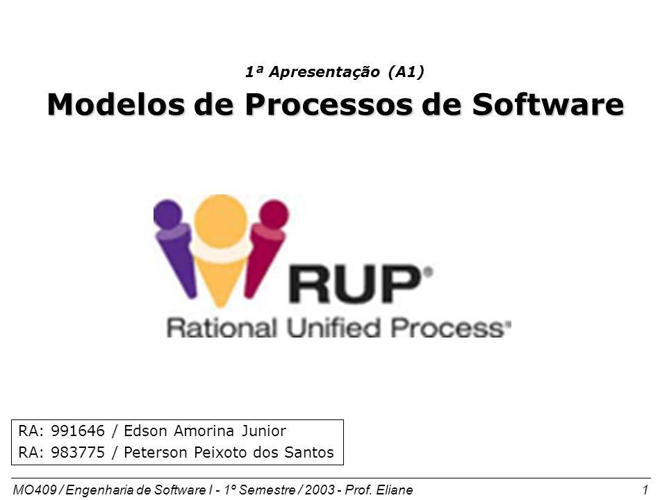 MO409 / Engenharia de Software I - 1º Semestre / 2003 - Prof. Eliane 1 1ª Apresentação (A1) Modelos de Processos de Software RA: 991646 / Edson Amorin