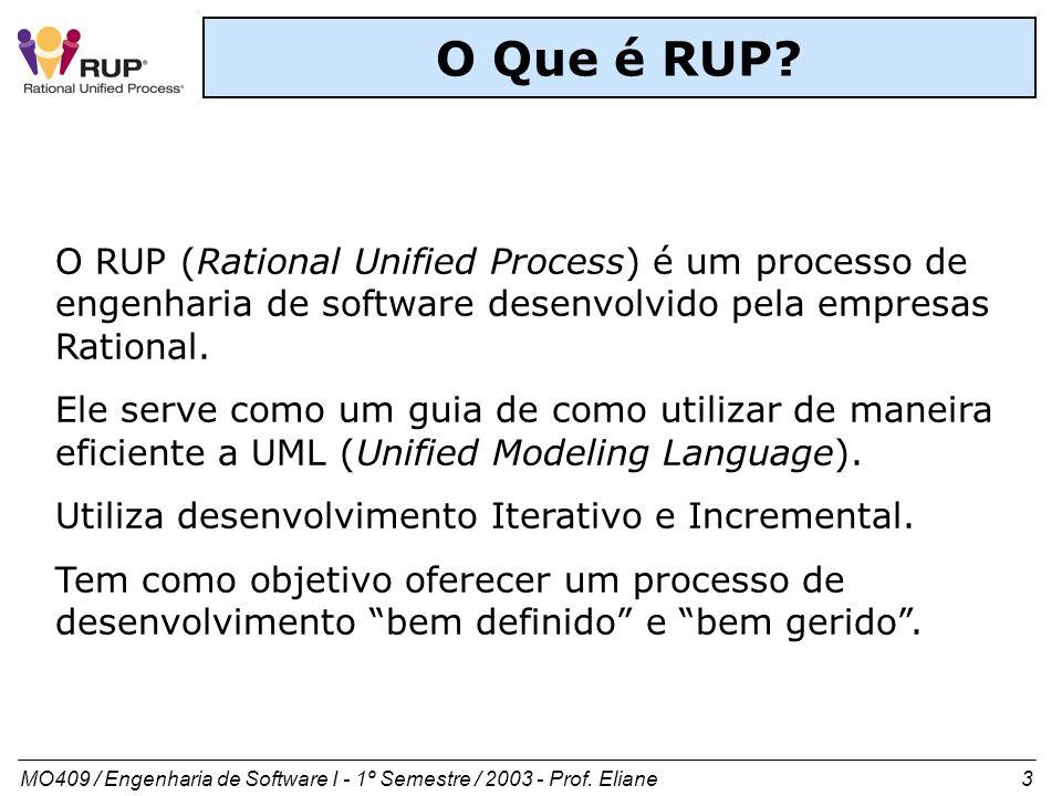 MO409 / Engenharia de Software I - 1º Semestre / 2003 - Prof. Eliane 3 O Que é RUP? O RUP (Rational Unified Process) é um processo de engenharia de so