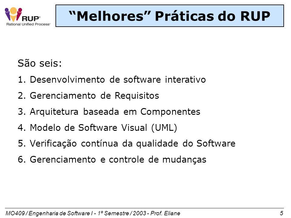 MO409 / Engenharia de Software I - 1º Semestre / 2003 - Prof. Eliane 5 Melhores Práticas do RUP São seis: 1. Desenvolvimento de software interativo 2.