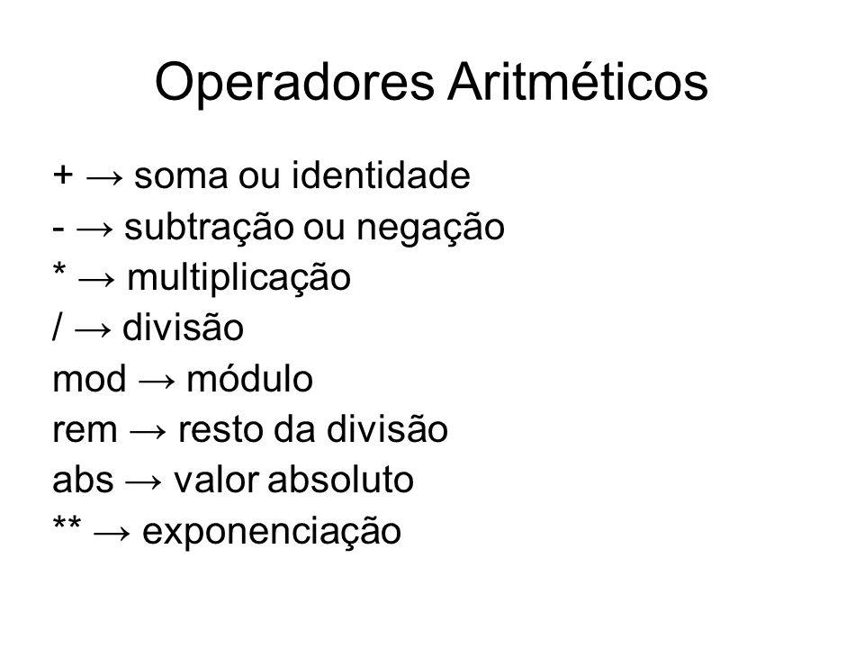 Operadores Aritméticos + soma ou identidade - subtração ou negação * multiplicação / divisão mod módulo rem resto da divisão abs valor absoluto ** exp