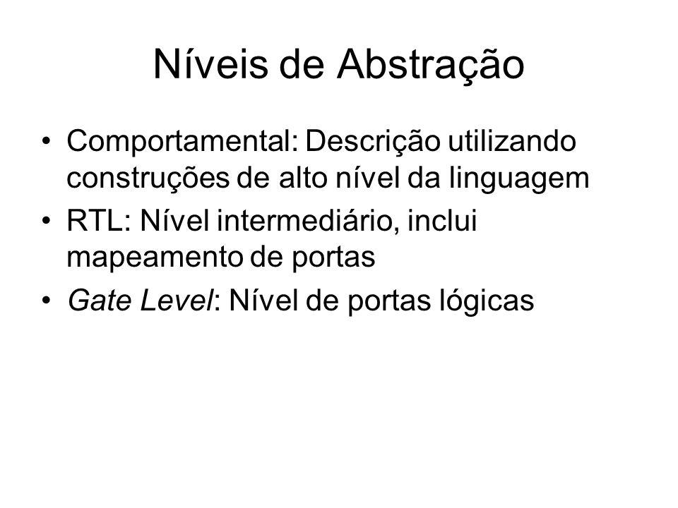 Níveis de Abstração Comportamental: Descrição utilizando construções de alto nível da linguagem RTL: Nível intermediário, inclui mapeamento de portas