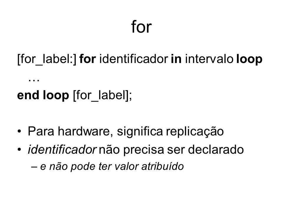 for [for_label:] for identificador in intervalo loop … end loop [for_label]; Para hardware, significa replicação identificador não precisa ser declara