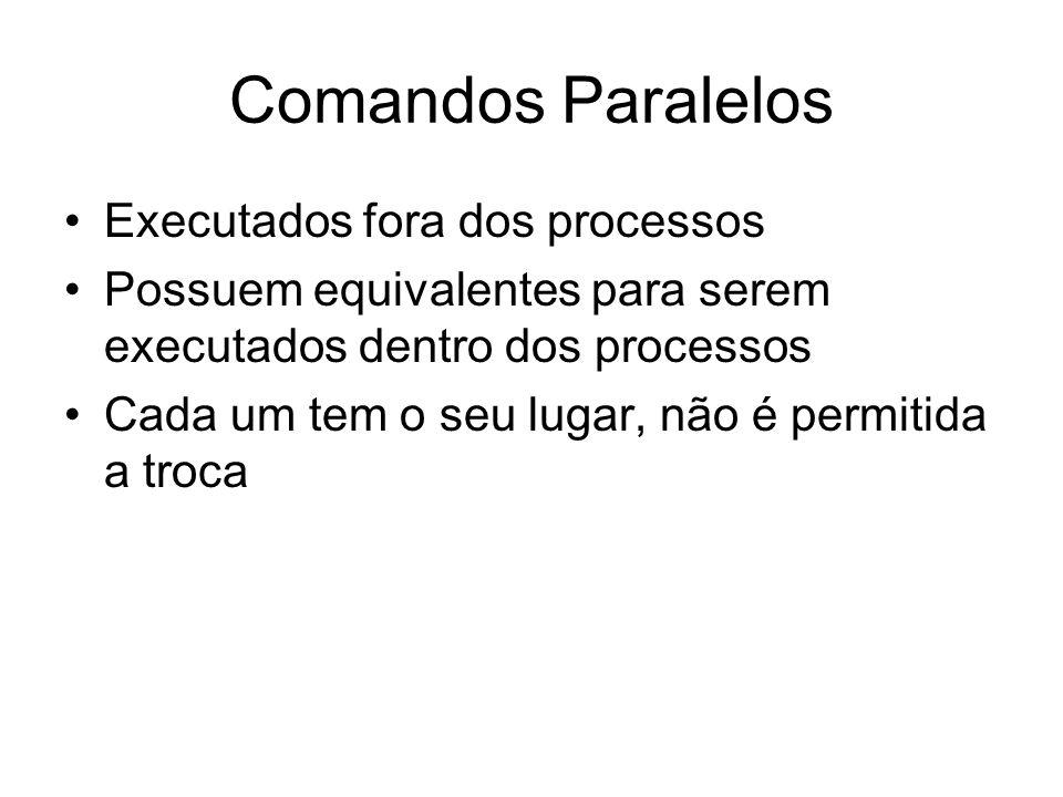 Comandos Paralelos Executados fora dos processos Possuem equivalentes para serem executados dentro dos processos Cada um tem o seu lugar, não é permit