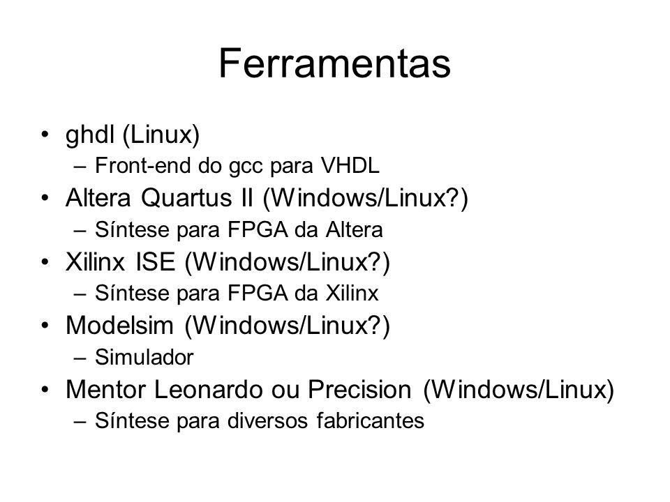 Ferramentas ghdl (Linux) –Front-end do gcc para VHDL Altera Quartus II (Windows/Linux?) –Síntese para FPGA da Altera Xilinx ISE (Windows/Linux?) –Sínt