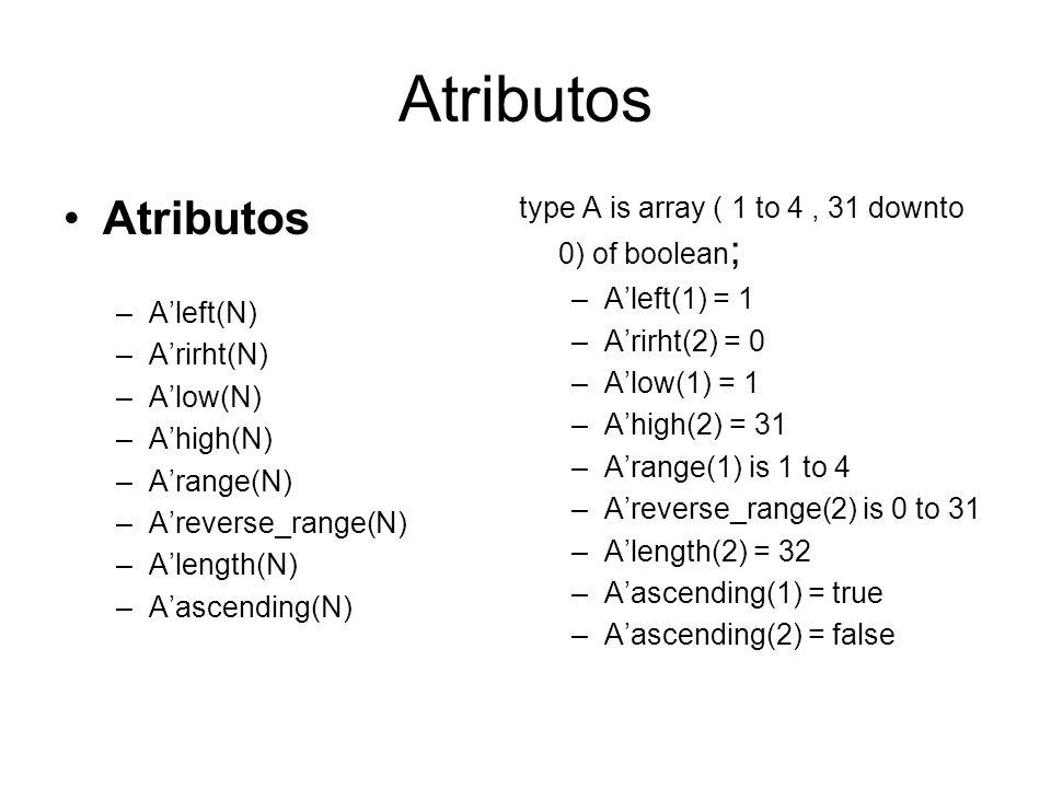 Atributos –Aleft(N) –Arirht(N) –Alow(N) –Ahigh(N) –Arange(N) –Areverse_range(N) –Alength(N) –Aascending(N) type A is array ( 1 to 4, 31 downto 0) of b