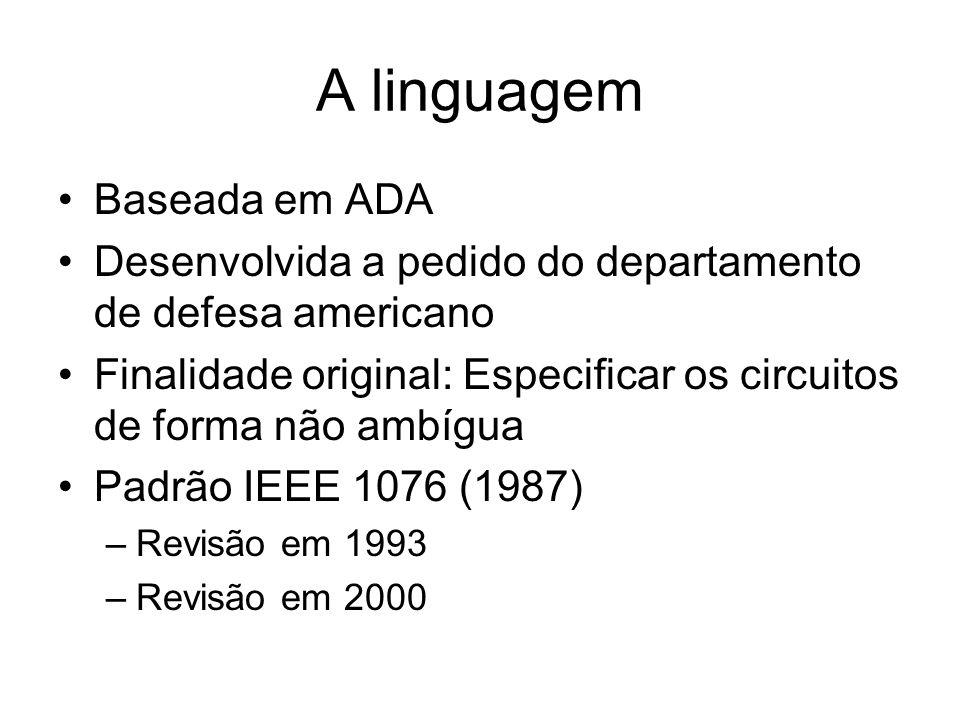 A linguagem Baseada em ADA Desenvolvida a pedido do departamento de defesa americano Finalidade original: Especificar os circuitos de forma não ambígu