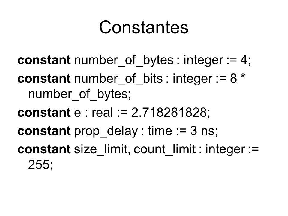 Constantes constant number_of_bytes : integer := 4; constant number_of_bits : integer := 8 * number_of_bytes; constant e : real := 2.718281828; consta
