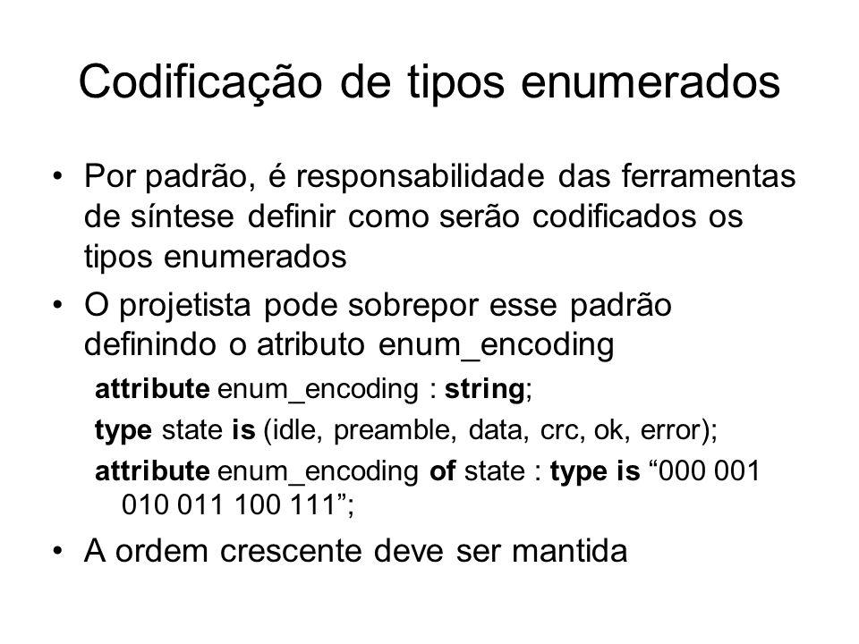 Codificação de tipos enumerados Por padrão, é responsabilidade das ferramentas de síntese definir como serão codificados os tipos enumerados O projeti