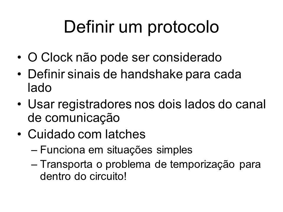 Definir um protocolo O Clock não pode ser considerado Definir sinais de handshake para cada lado Usar registradores nos dois lados do canal de comunic