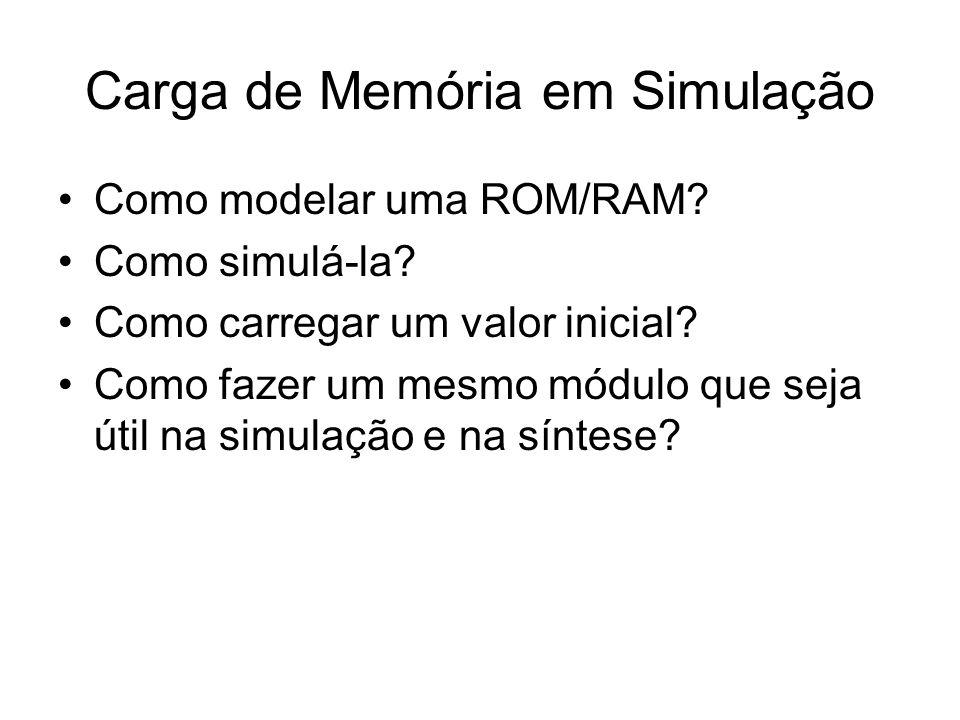 Carga de Memória em Simulação Como modelar uma ROM/RAM? Como simulá-la? Como carregar um valor inicial? Como fazer um mesmo módulo que seja útil na si