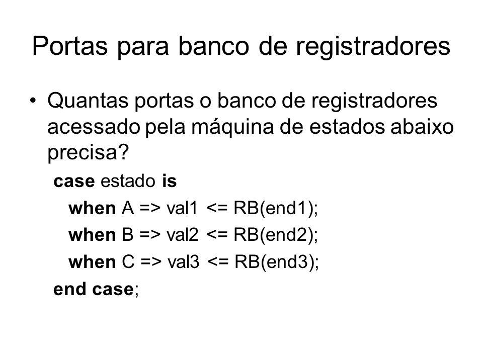 Portas para banco de registradores Quantas portas o banco de registradores acessado pela máquina de estados abaixo precisa? case estado is when A => v