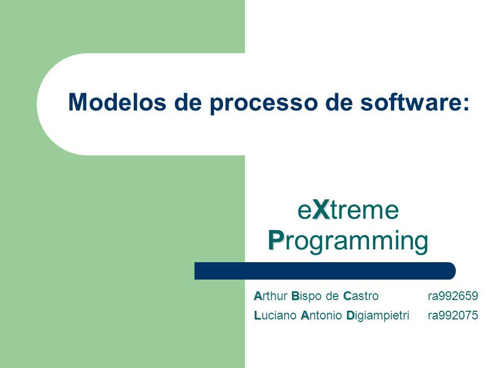 Modelos de processo de software: X P eXtreme Programming ABC Arthur Bispo de Castro ra992659 LAD Luciano Antonio Digiampietri ra992075