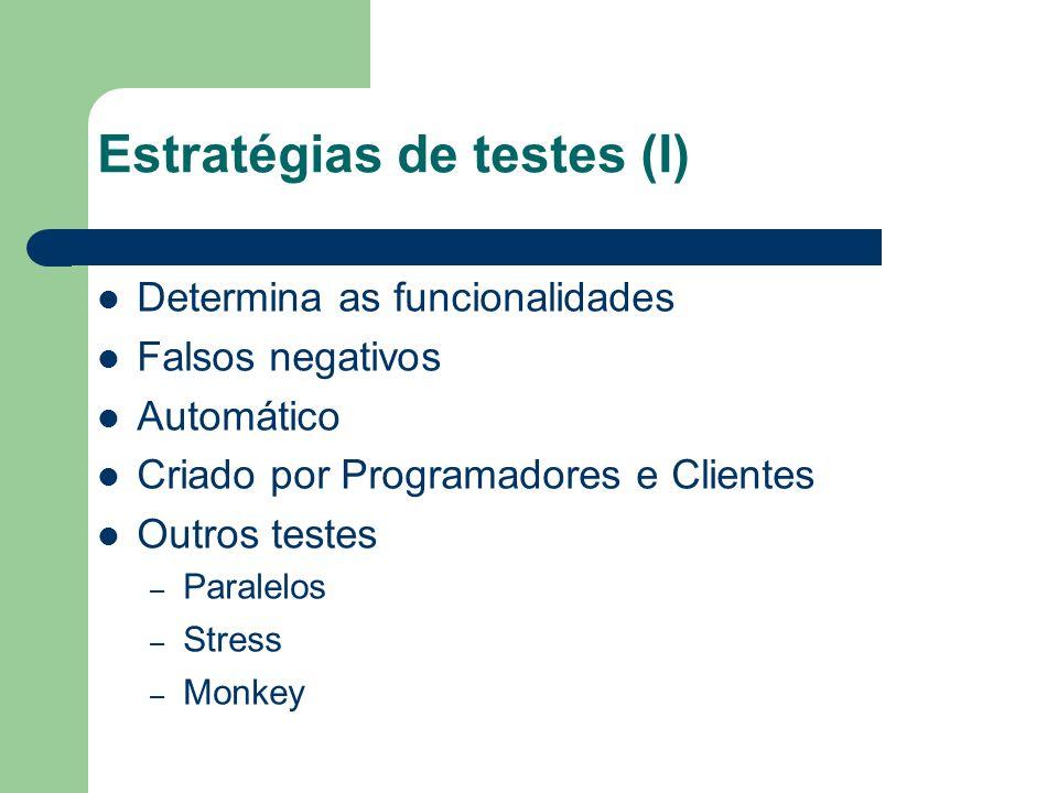 Estratégias de testes (I) Determina as funcionalidades Falsos negativos Automático Criado por Programadores e Clientes Outros testes – Paralelos – Stress – Monkey