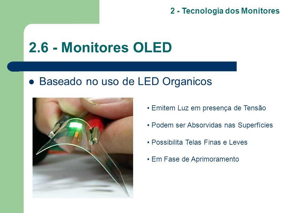 2.6 - Monitores OLED Baseado no uso de LED Organicos 2 - Tecnologia dos Monitores Emitem Luz em presença de Tensão Podem ser Absorvidas nas Superfície