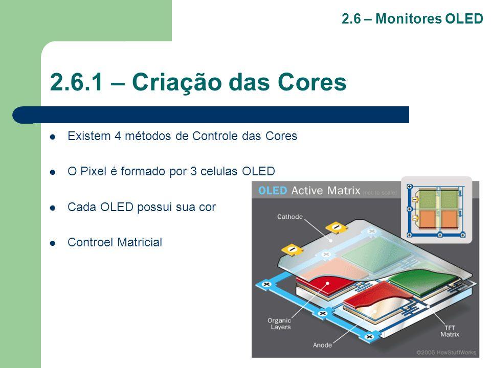 2.6.1 – Criação das Cores Existem 4 métodos de Controle das Cores O Pixel é formado por 3 celulas OLED Cada OLED possui sua cor Controel Matricial 2.6