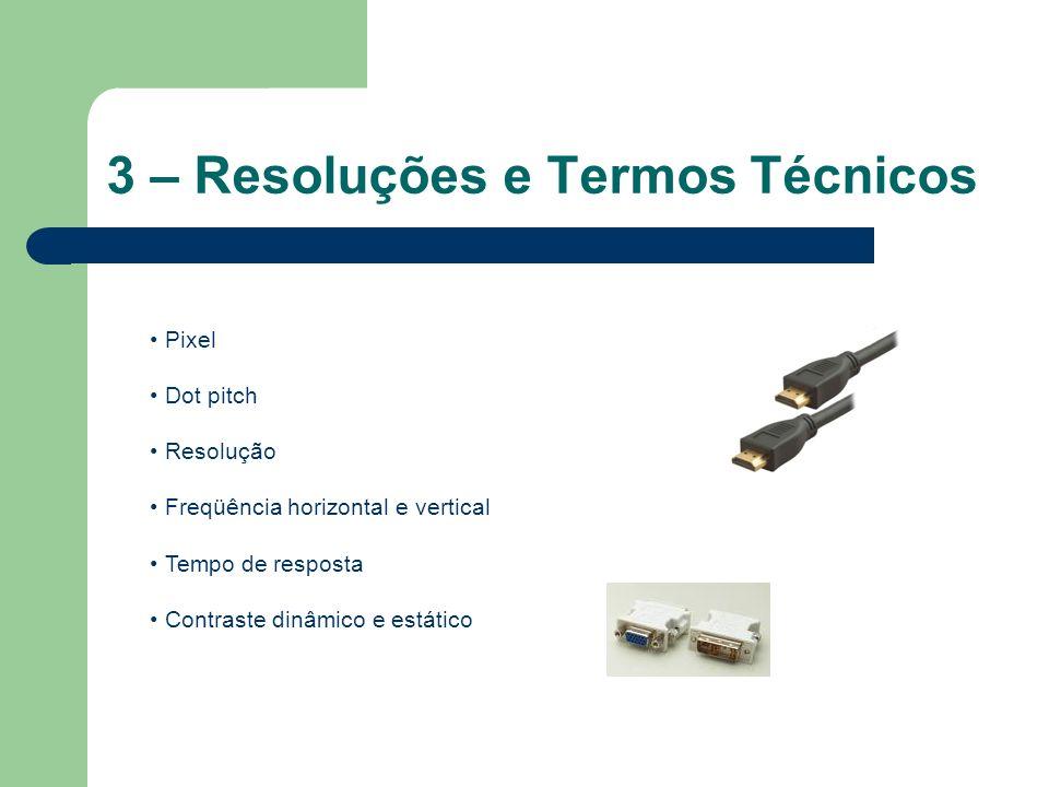 3 – Resoluções e Termos Técnicos Pixel Dot pitch Resolução Freqüência horizontal e vertical Tempo de resposta Contraste dinâmico e estático