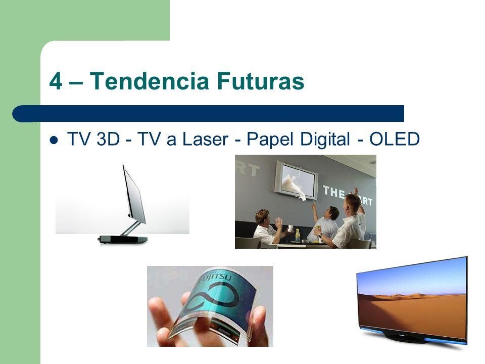 4 – Tendencia Futuras TV 3D - TV a Laser - Papel Digital - OLED