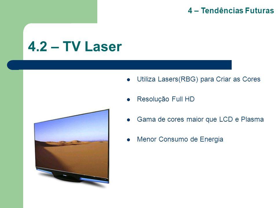 4.2 – TV Laser Utiliza Lasers(RBG) para Criar as Cores Resolução Full HD Gama de cores maior que LCD e Plasma Menor Consumo de Energia 4 – Tendências